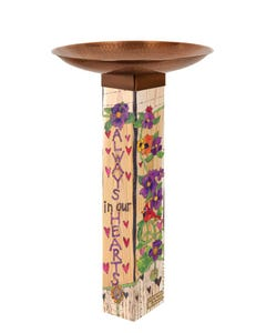 Our Hearts Remember Bird Bath w/ST9021 Copper Topper