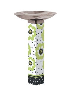 Polka Dots and Flowers Bird Bath Art Pole w/ST9025 Stainless Steel Topper