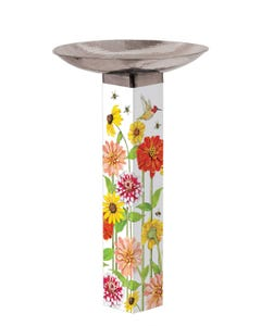 Birds and Bees Bird Bath Art Pole w/ST9025 Stainless Steel Topper