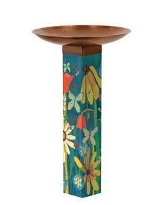 Earth Laughs in Flowers Bird Bath Art Pole w/ST9021 Copper Topper