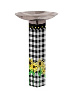 Checks and Yellow Daisies Bird Bath Art Pole w/ST9025 Stainless Steel Topper