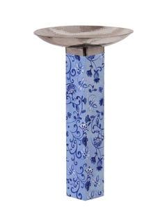 Garden Blues on Blue Bird Bath Art Pole w/ST9025 Stainless Steel Topper