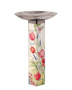 Bloom with Grace Bird Bath Art Pole w/ST9025 Stainless Steel Topper
