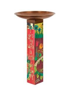 I Get By Bird Bath Art Pole w/ST9021 Copper Topper
