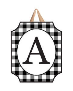 Black And White Check Monogram A Door Décor