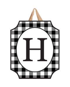 Black And White Check Monogram H Door Décor