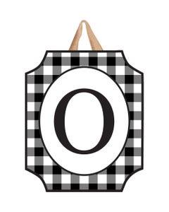 Black And White Check Monogram O Door Décor