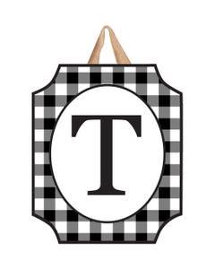 Black And White Check Monogram T Door Décor