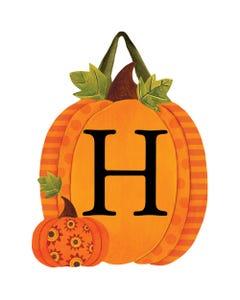 Patterned Pumpkins Monogram H Door Décor