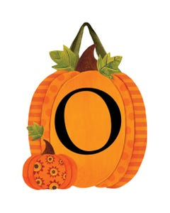 Patterned Pumpkins Monogram O Door Décor
