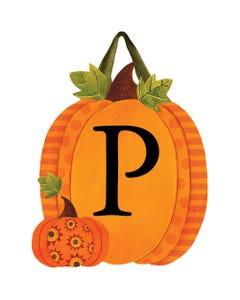 Patterned Pumpkins Monogram P Door Décor