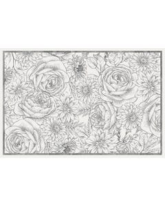 Etched Bouquet Floor Flair - 2 x 3