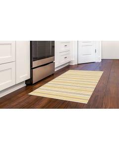 Ticking Stripes - Mustard/Brown Floor Flair - 3 x 5