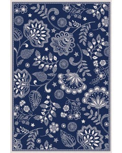 Embroidered Floral - Blue Floor Flair - 4 x 6