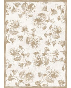 Etched Sunflower - Taupe Floor Flair - 5 x 7