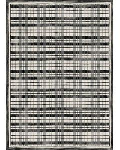 Fine Line Plaid - Black & Cream Floor Flair - 5 x 7