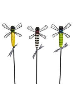 """CLR Dragonflies 16"""" Plant Pokes S/3 asst."""