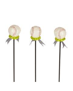 "CLR Baseball 16"" Plant Pokes S/3"