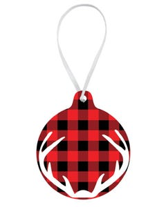 Checks and Antlers Ornament