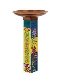 Gather Friends Bird Bath Art Pole w/ST9021 Copper Topper