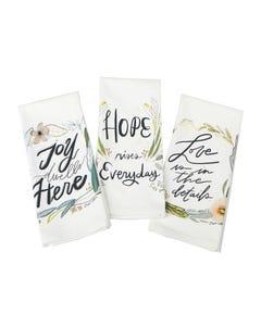 Hope, Love, Joy Tea Towel - Set of 3 Asst.